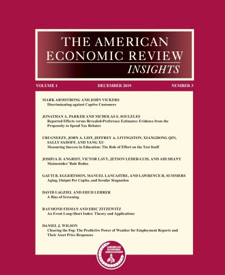 American Economic Review: Insights cover
